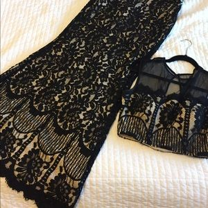 2 piece prom dress/ evening gown black lace